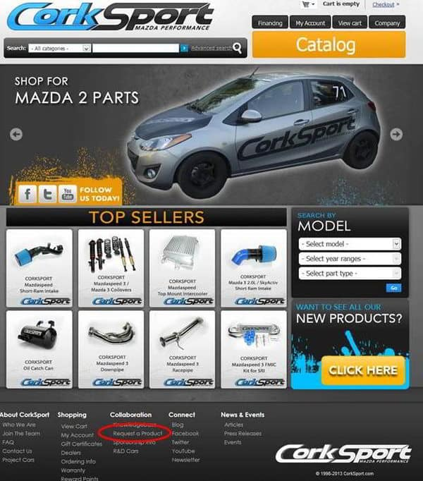 Picture of CorkSport Mazda Performance website with link to collaboration highlighted