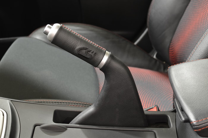 Elevate your Mazda's interior with the CorkSport leather e-brake handle.