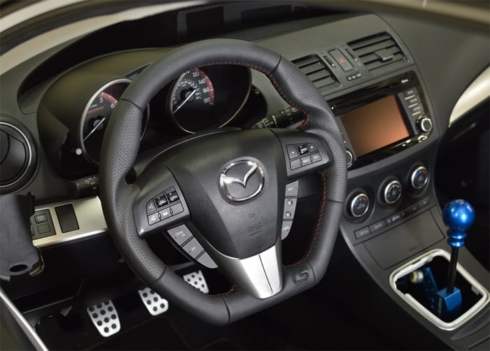 Upgrade your steering wheel with the CorkSport Performance Steering Wheel for he Gen 2 Mazdaspeed 3 and Mazda 3.